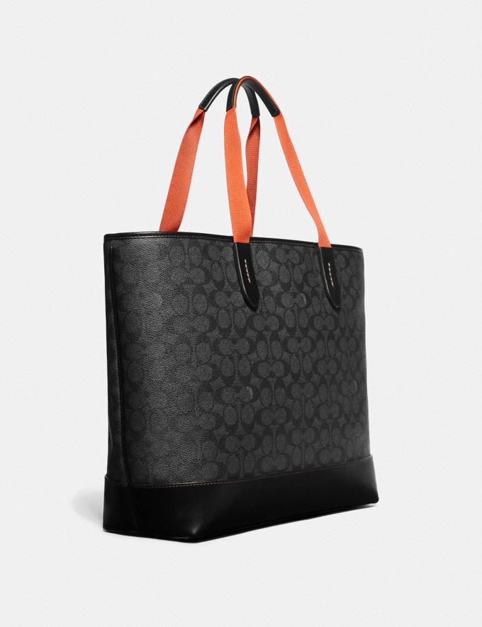 Coach Academy Tote in Signature Canvas With Coach Patch Charcoal/Black Copper Men Bags Totes & Duffles Alternate View 1