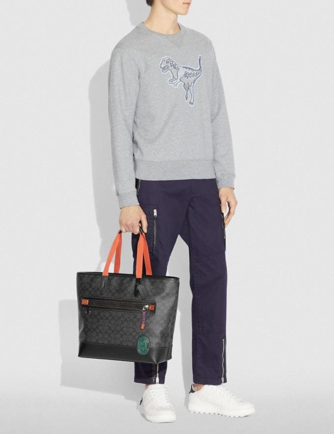 Coach Academy Tote in Signature Canvas With Coach Patch Charcoal/Black Copper Men Bags Totes & Duffles Alternate View 3