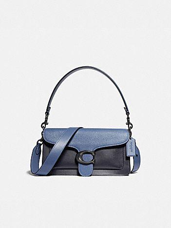 tabby shoulder bag 26 in colorblock with snakeskin detail