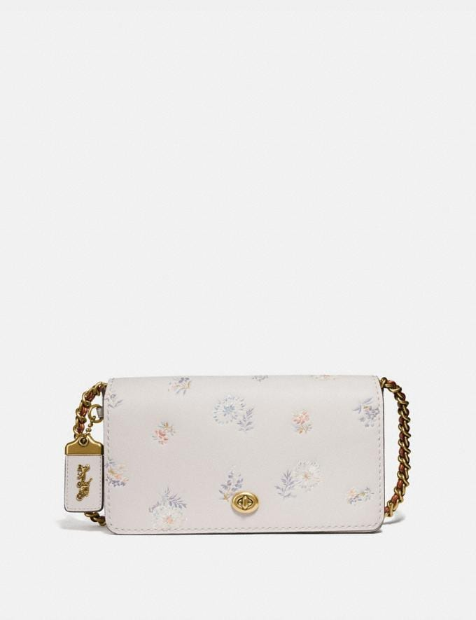 Coach Dinky With Meadow Prairie Print Brass/Chalk Women Collection Dinky