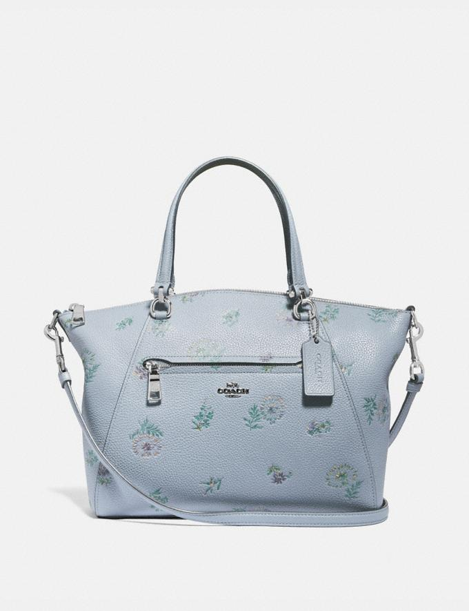 Coach Prairie Satchel With Meadow Prairie Print Silver/Mist Women Handbags Satchels & Carryalls