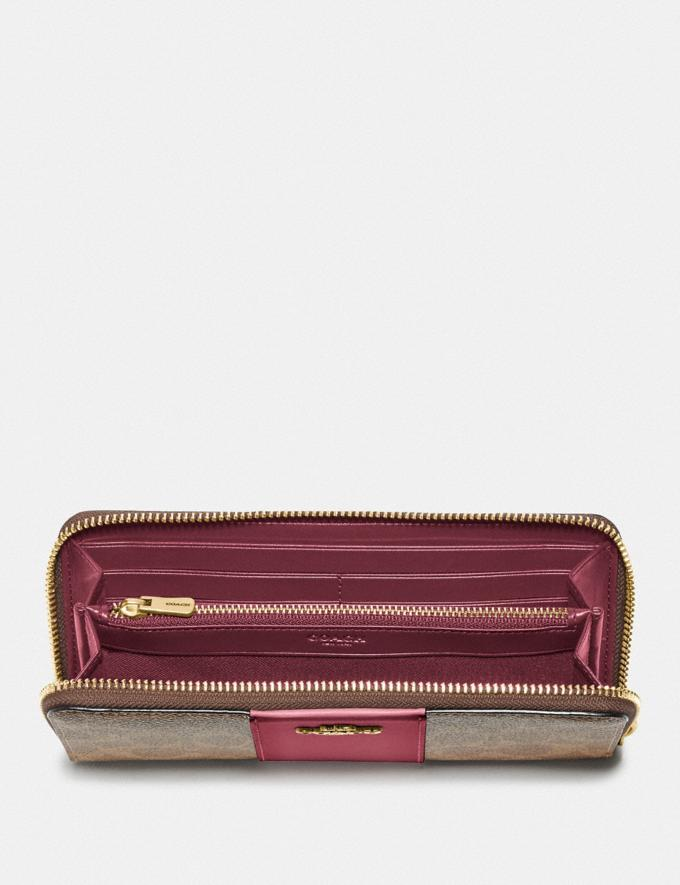 Coach Slim Accordion Zip Wallet in Colorblock Signature Canvas B4/Tan Rouge null Alternate View 1
