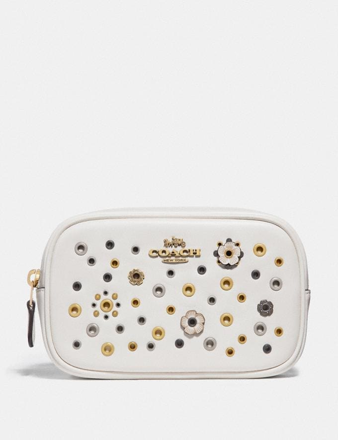 Coach Belt Bag With Scattered Rivets Brass/Chalk Multi