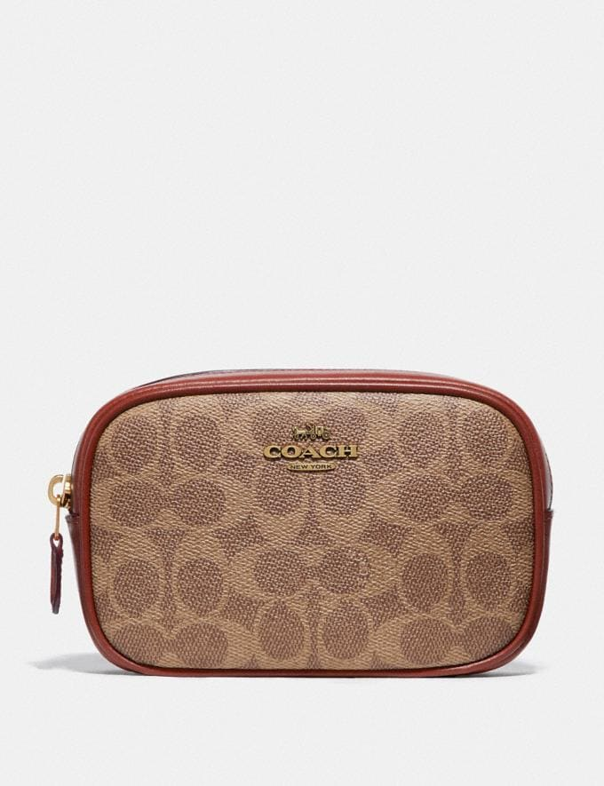 Coach Belt Bag in Colorblock Signature Canvas Brass/Tan Rust New Women's New Arrivals Bags