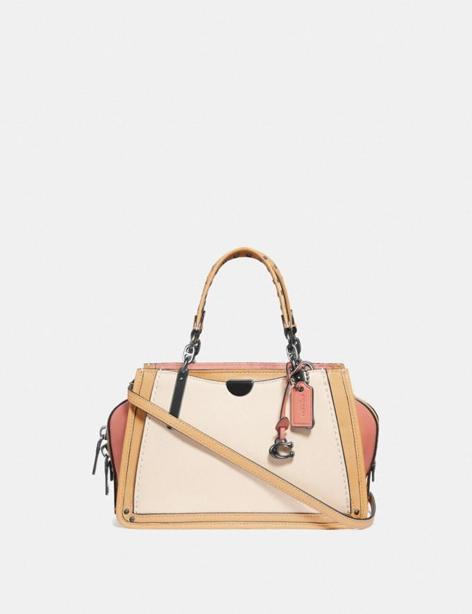 Coach Dreamer 21 in Colorblock With Rivets Ivory Multi/Pewter Women Bags Satchels & Carryalls