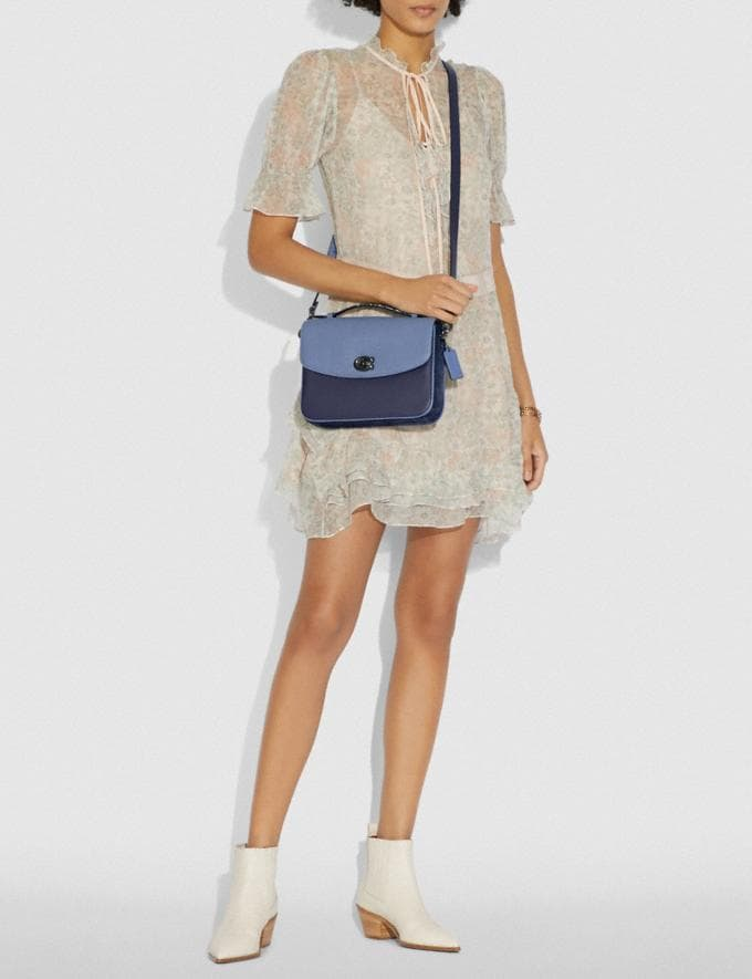 Coach Cassie Crossbody With Snakeskin Detail Washed Chambray/Pewter New Featured Online Exclusives Alternate View 4