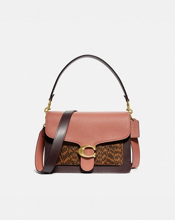 Coach TABBY SHOULDER BAG IN COLORBLOCK WITH SNAKESKIN DETAIL