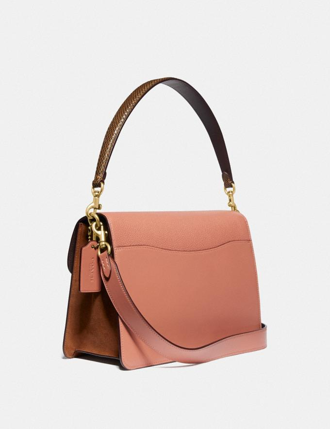 Coach Tabby Shoulder Bag in Colorblock With Snakeskin Detail Light Peach Multi/Brass Women Bags Shoulder Bags Alternate View 1