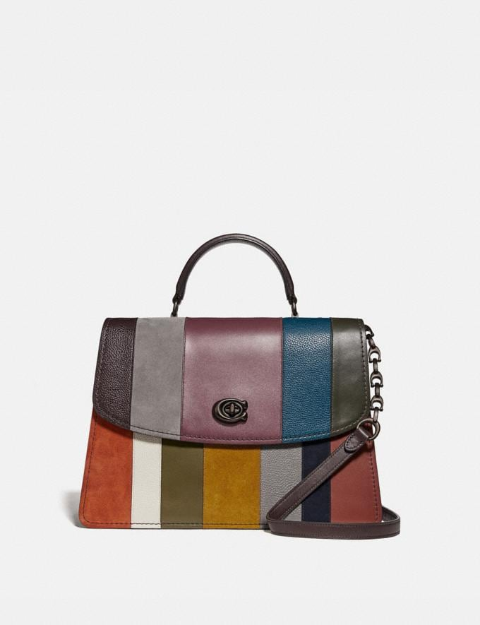 Coach Parker Top Handle 32 With Patchwork Stripes Oxblood Multi/Pewter