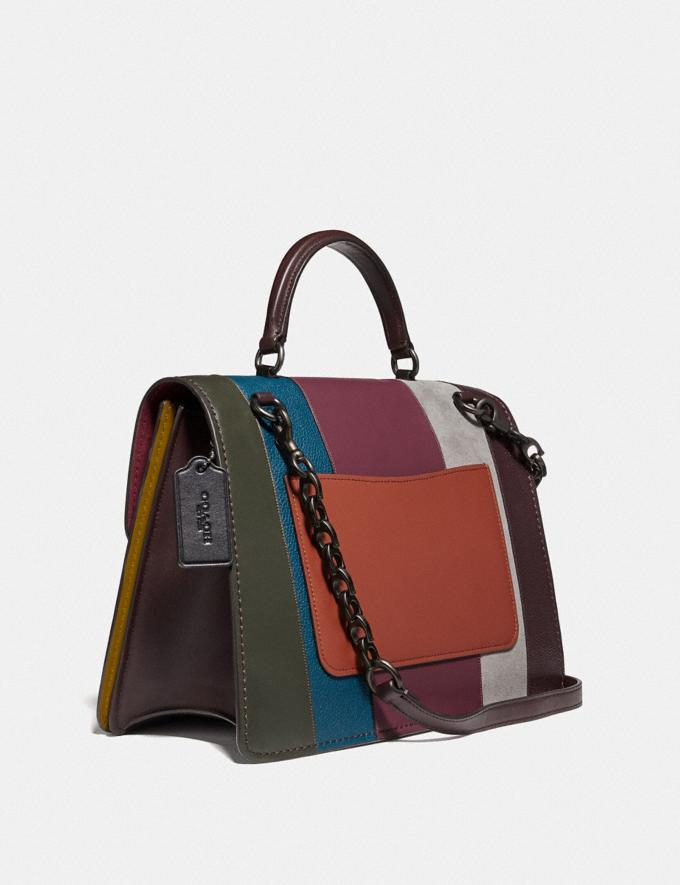 Coach Parker Top Handle 32 With Patchwork Stripes Oxblood Multi/Pewter  Alternate View 1