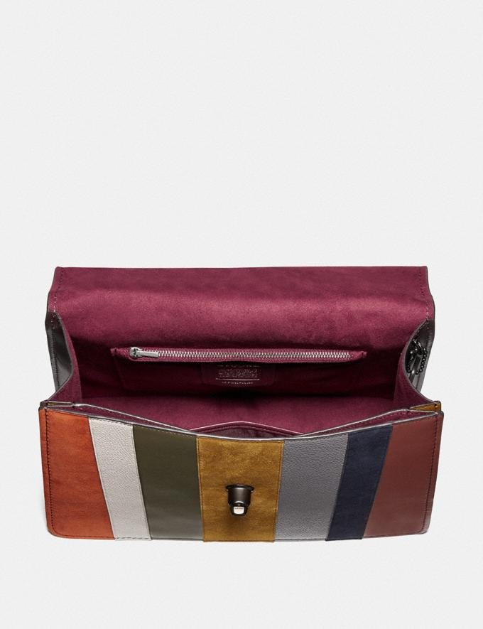 Coach Parker Top Handle 32 With Patchwork Stripes Oxblood Multi/Pewter  Alternate View 2