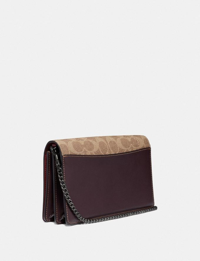 Coach Callie Foldover Chain Clutch in Signature Canvas With Rexy by Yeti Out Tan/Oxblood/Pewter New Women's New Arrivals Collection Alternate View 1