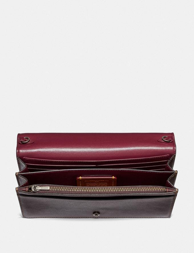 Coach Callie Foldover Chain Clutch in Signature Canvas With Rexy by Yeti Out Tan/Oxblood/Pewter New Women's New Arrivals Collection Alternate View 2