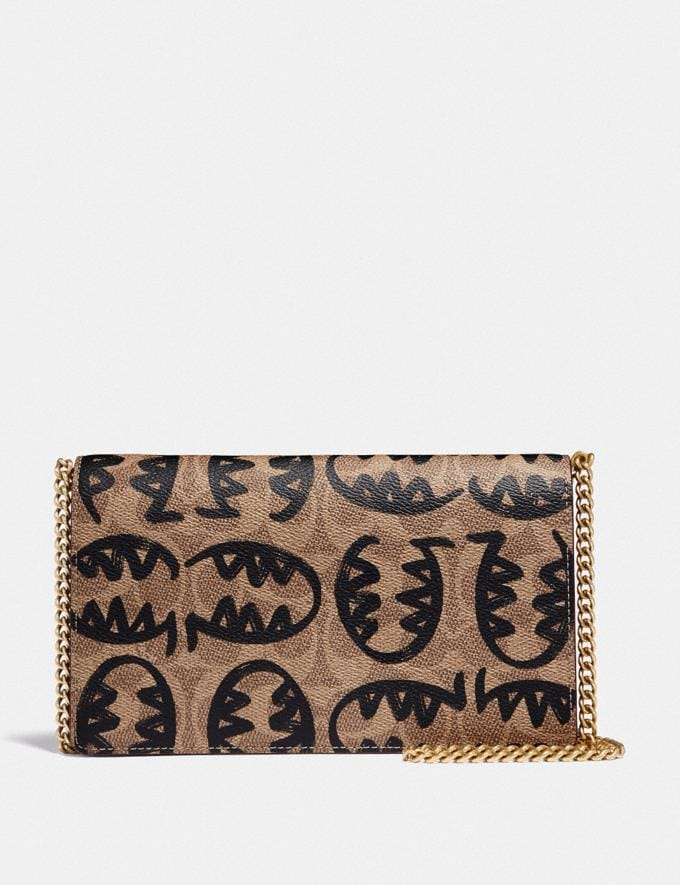 Coach Callie Foldover Chain Clutch in Signature Canvas With Rexy by Guang Yu B4/Tan Rust Women Small Leather Goods Crossbody Wallets