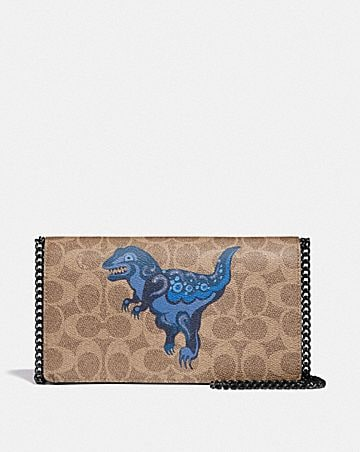 CALLIE FOLDOVER CHAIN CLUTCH IN SIGNATURE CANVAS WITH REXY BY ZHU JINGYI