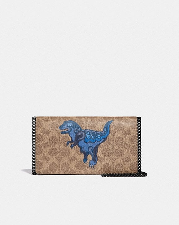 Coach CALLIE FOLDOVER CHAIN CLUTCH IN SIGNATURE CANVAS WITH REXY BY ZHU JINGYI