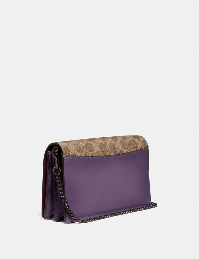 Coach Callie Foldover Chain Clutch in Signature Canvas With Rexy by Zhu Jingyi Tan/Dusty Lavender/Pewter Women Small Leather Goods Crossbody Wallets Alternate View 1