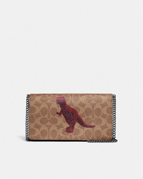 Coach CALLIE FOLDOVER CHAIN CLUTCH IN SIGNATURE CANVAS WITH REXY BY SUI JIANGUO