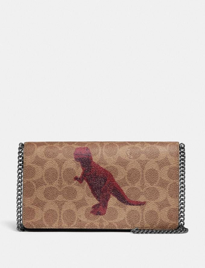 Coach Callie Foldover Chain Clutch in Signature Canvas With Rexy by Sui Jianguo Tan/Black/Pewter New Women's New Arrivals Collection