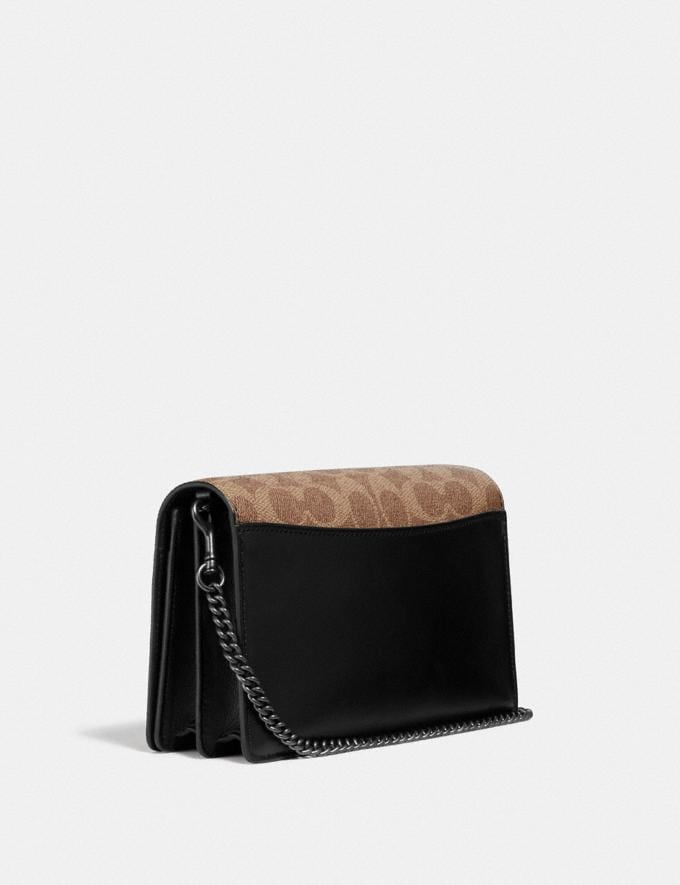 Coach Callie Foldover Chain Clutch in Signature Canvas With Rexy by Sui Jianguo Tan/Black/Pewter Women Collection Signature Alternate View 1