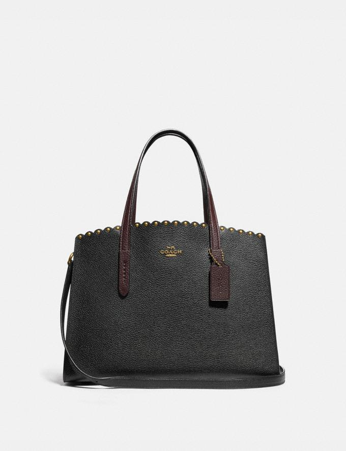 Coach Charlie Carryall With Scallop Rivets Black Multi/Brass Women Bags Satchels