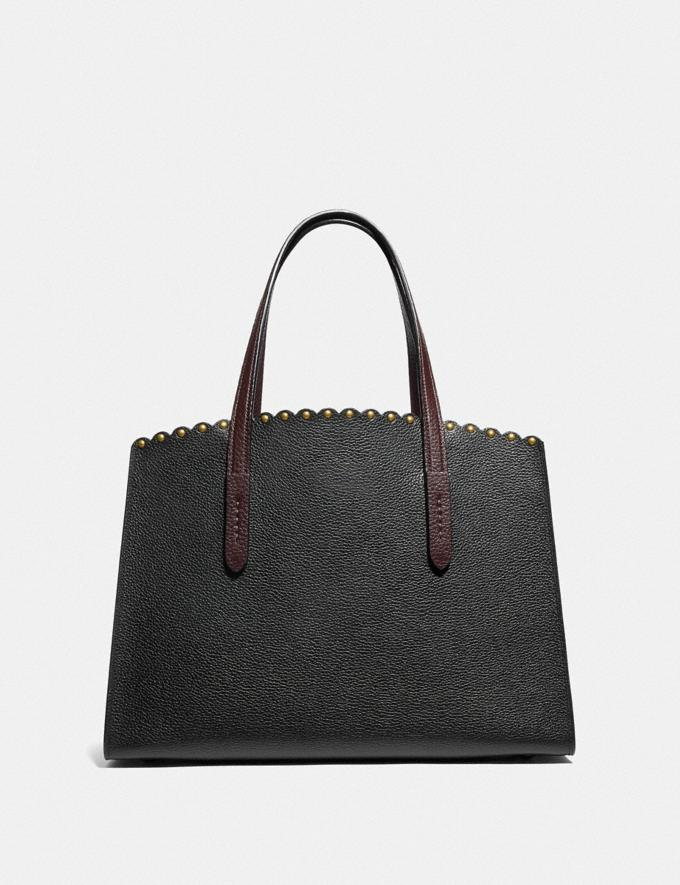 Coach Charlie Carryall With Scallop Rivets Black Multi/Brass Women Bags Satchels Alternate View 2