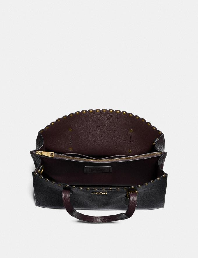Coach Charlie Carryall With Scallop Rivets Black Multi/Brass Women Bags Satchels Alternate View 3