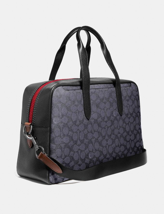Coach Metropolitan Soft Carryall in Signature Canvas With Coach Patch Charcoal/Black Copper Finish New Featured Signature Styles Alternate View 1
