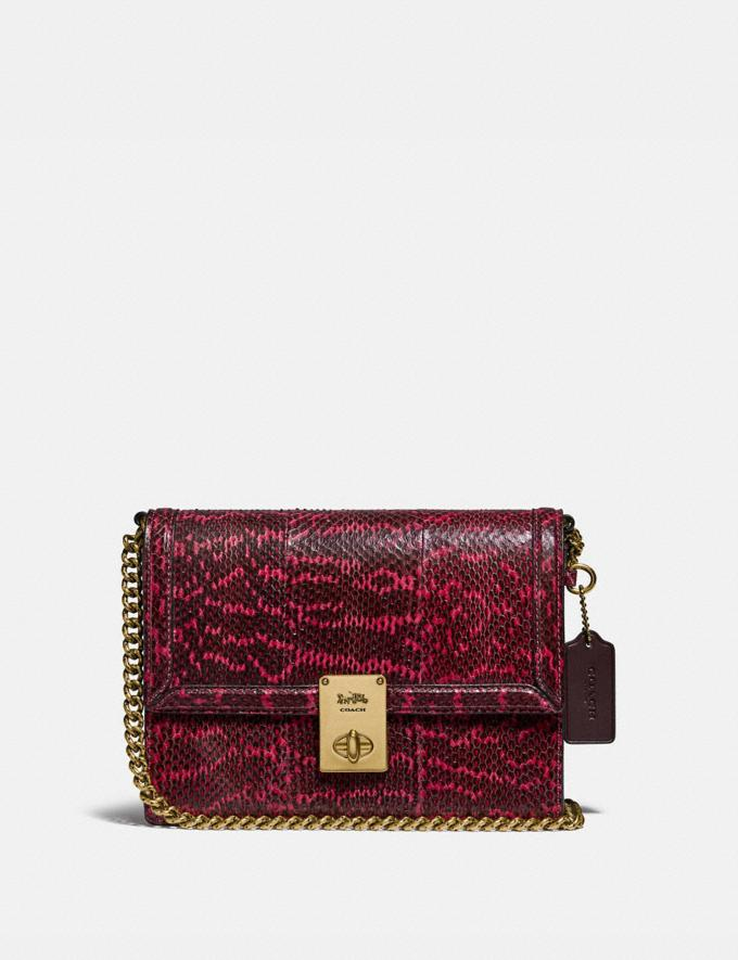 Coach Hutton Shoulder Bag in Snakeskin Brass/Cerise Mujer Bolsos Bolsos de hombro