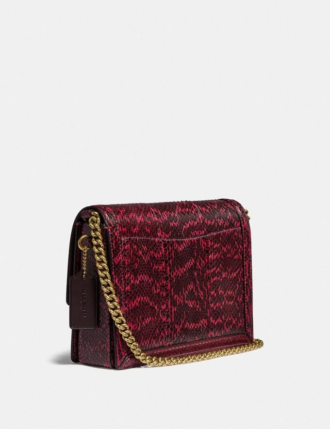 Coach Hutton Shoulder Bag in Snakeskin Brass/Cerise Cyber Monday For Her Cyber Monday Sale Alternate View 1