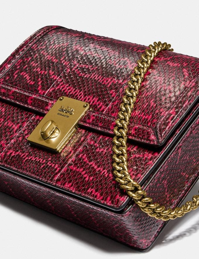 Coach Hutton Shoulder Bag in Snakeskin Brass/Cerise Cyber Monday For Her Cyber Monday Sale Alternate View 5