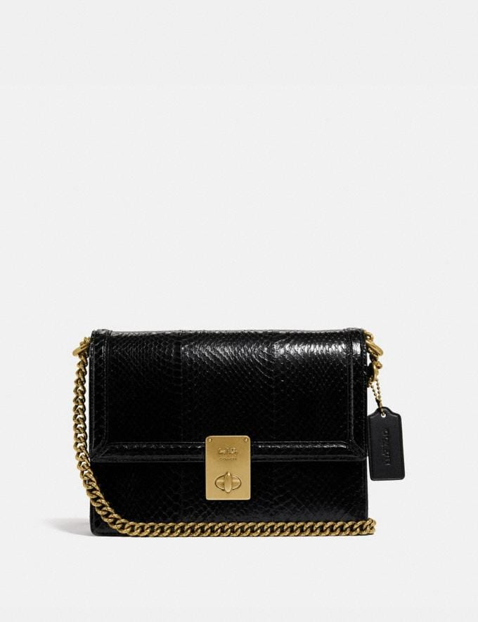 Coach Hutton Shoulder Bag in Snakeskin Brass/Black Damen Taschen Schultertaschen