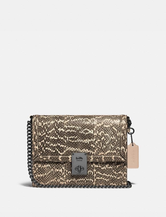 Coach Hutton Shoulder Bag in Snakeskin Pewter/Neutral Women Bags Shoulder Bags