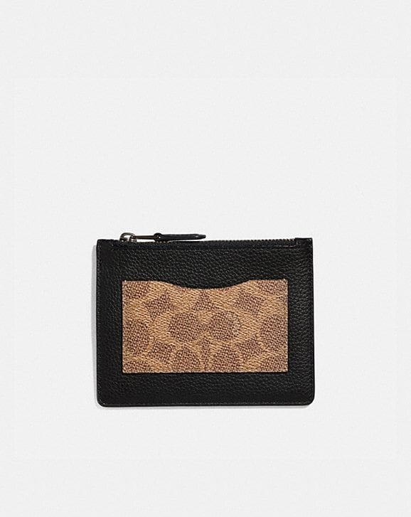 Coach LARGE CARD CASE WITH SIGNATURE CANVAS BLOCKING