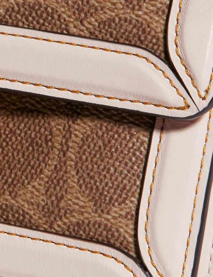 Coach Riley Top Handle 18 in Signature Canvas Tan/Chalk/Brass Women Bags Crossbody Bags Alternate View 5