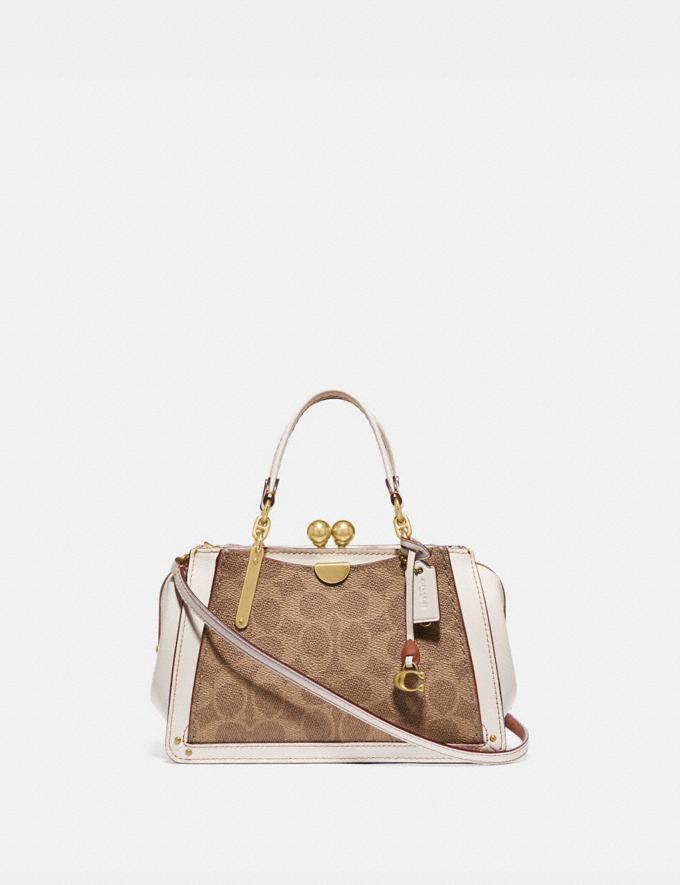 Coach Kisslock Dreamer 21 in Signature Canvas Tan/Chalk/Brass New Women's New Arrivals Bags
