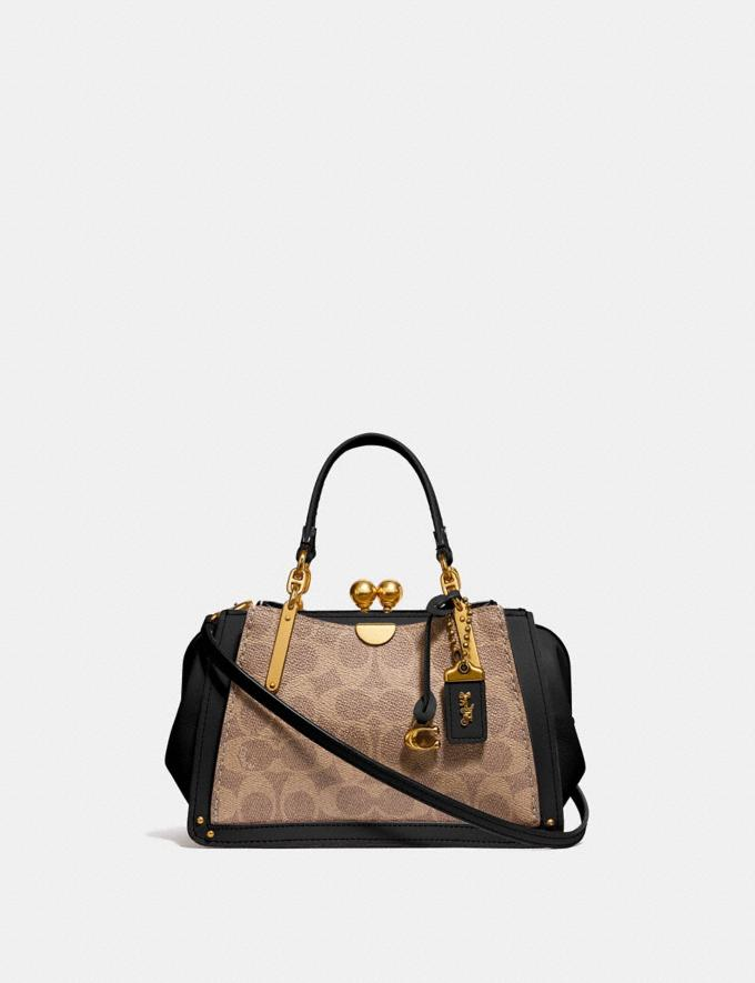 Coach Kisslock Dreamer 21 in Signature Canvas Tan/Black/Brass Cyber Monday Women's Cyber Monday Sale Bags