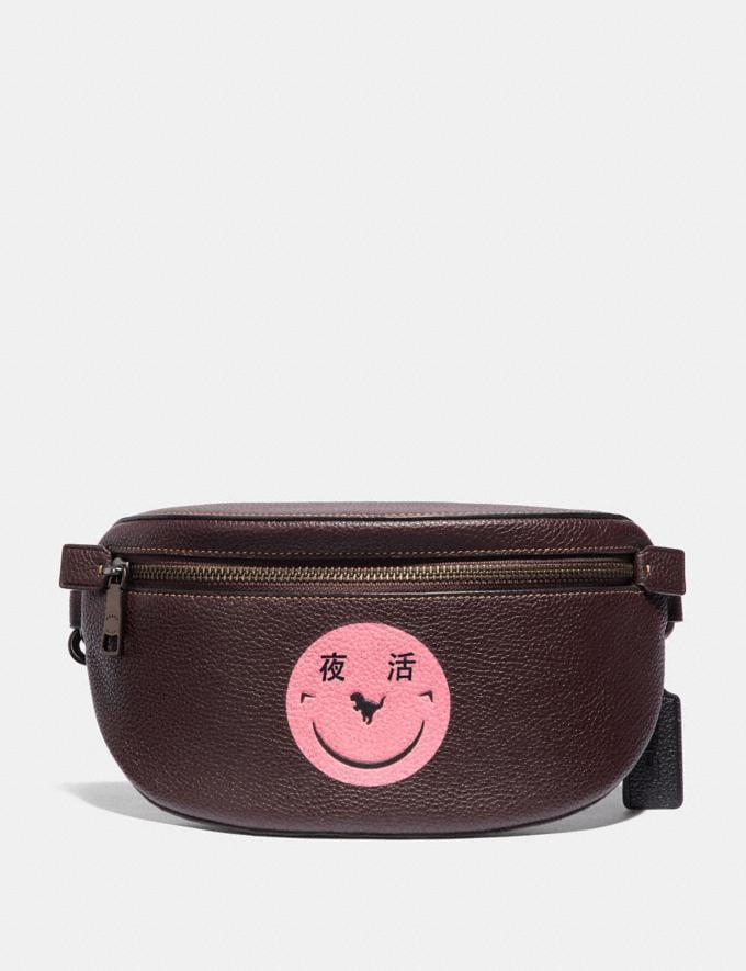 Coach Belt Bag With Rexy by Yeti Out Oxblood/Pewter New Featured Rexy Remix