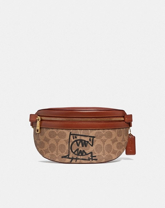 Coach BELT BAG IN SIGNATURE CANVAS WITH REXY BY GUANG YU