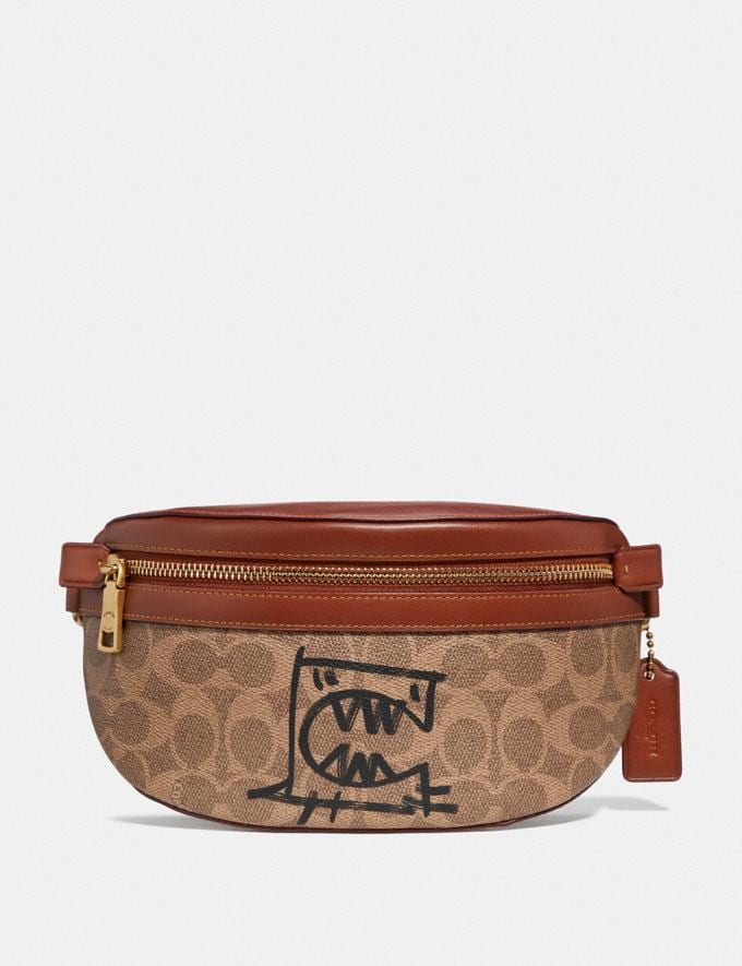 Coach Belt Bag in Signature Canvas With Rexy by Guang Yu Tan/Rust/Brass Women Handbags Belt Bags
