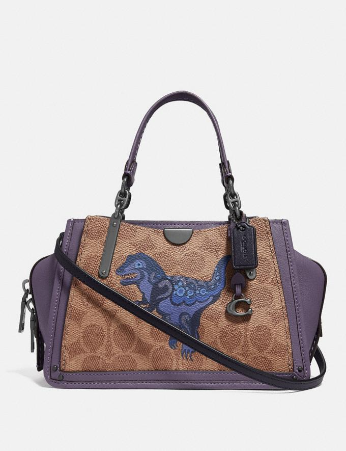 Coach Dreamer 21 in Signature Canvas With Rexy by Zhu Jingyi Tan/Dusty Lavender/Pewter Women Collection Signature