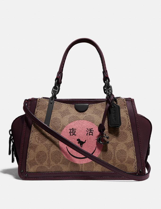 Coach Dreamer 21 in Signature Canvas With Rexy by Yeti Out Tan/Oxblood/Pewter Women Bags Satchels & Carryalls