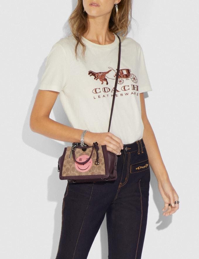 Coach Dreamer 21 in Signature Canvas With Rexy by Yeti Out Tan/Oxblood/Pewter New Women's Trends Rexy Remix Alternate View 4