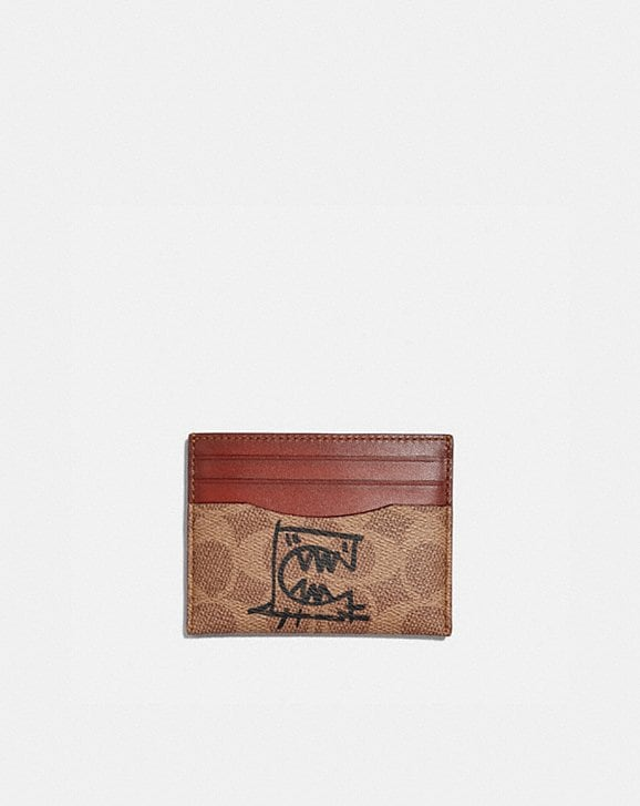 Coach CARD CASE IN SIGNATURE CANVAS WITH REXY BY GUANG YU