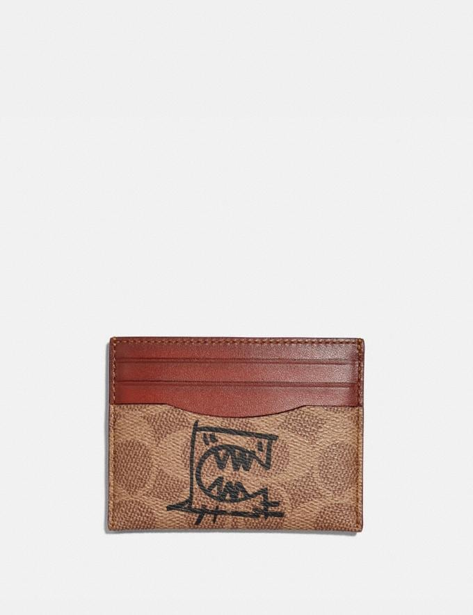 Coach Card Case in Signature Canvas With Rexy by Guang Yu Tan/Rust/Brass New Women's New Arrivals Collection