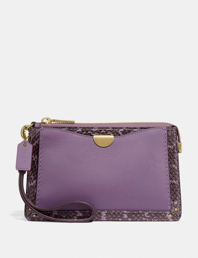 Coach Dreamer Wristlet With Snakeskin Detail Dusty Lavender/Brass New Women's New Arrivals Wallets & Wristlets
