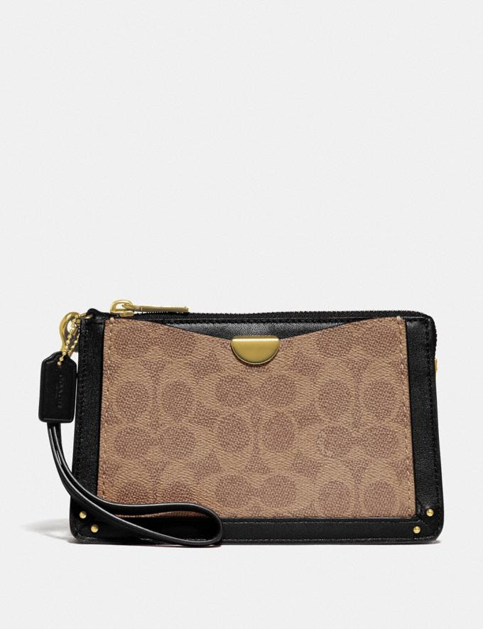 Coach Dreamer Wristlet in Signature Canvas Tan Black/Brass Women Bags Signature Bags