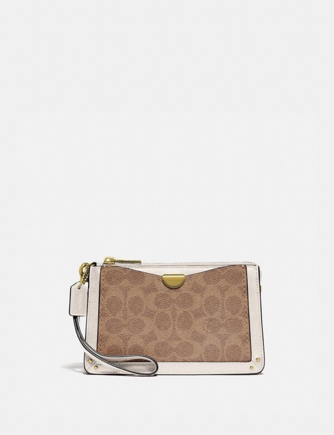 Coach Dreamer Wristlet in Signature Canvas Tan Chalk/Brass Women Edits