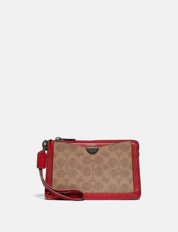Coach Dreamer Wristlet in Signature Canvas Red Cyber Monday Online Only Cyber Monday Sale Bags