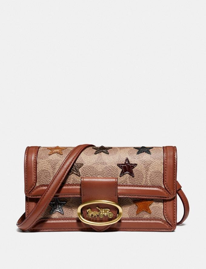 Coach Riley Convertible Belt Bag in Signature Canvas With Star Applique and Snakeskin Detail Tan/1941 Saddle/Brass Women Bags Crossbody Bags